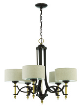 Craftmade 46325-ANGBZ - Colonial 5 Light Chandelier in Antique Gold and Bronze